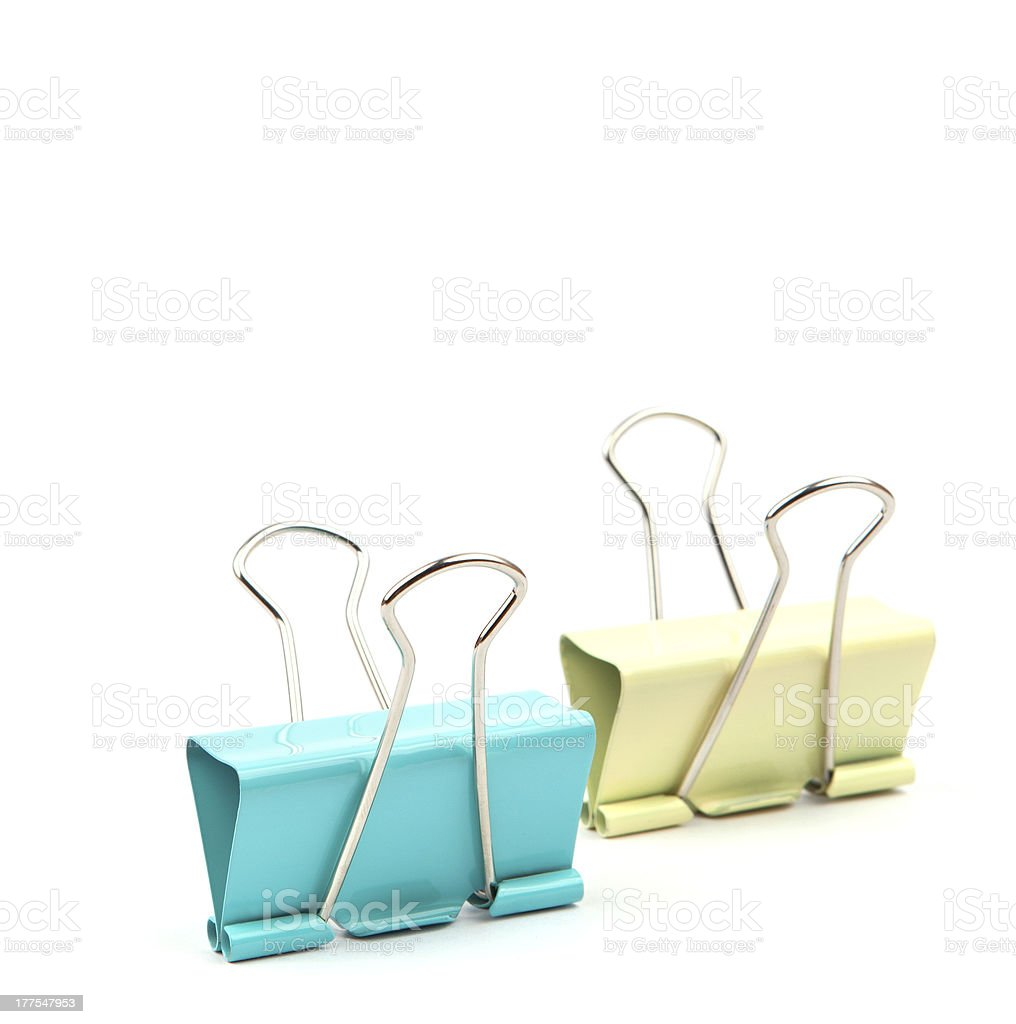 colorful clips on white background royalty-free stock photo