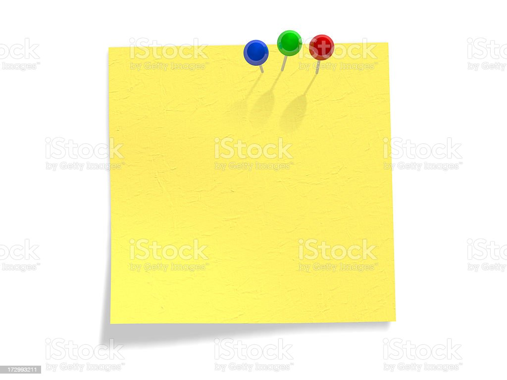 Colorful clips on yellow note (Clipping Path) royalty-free stock photo