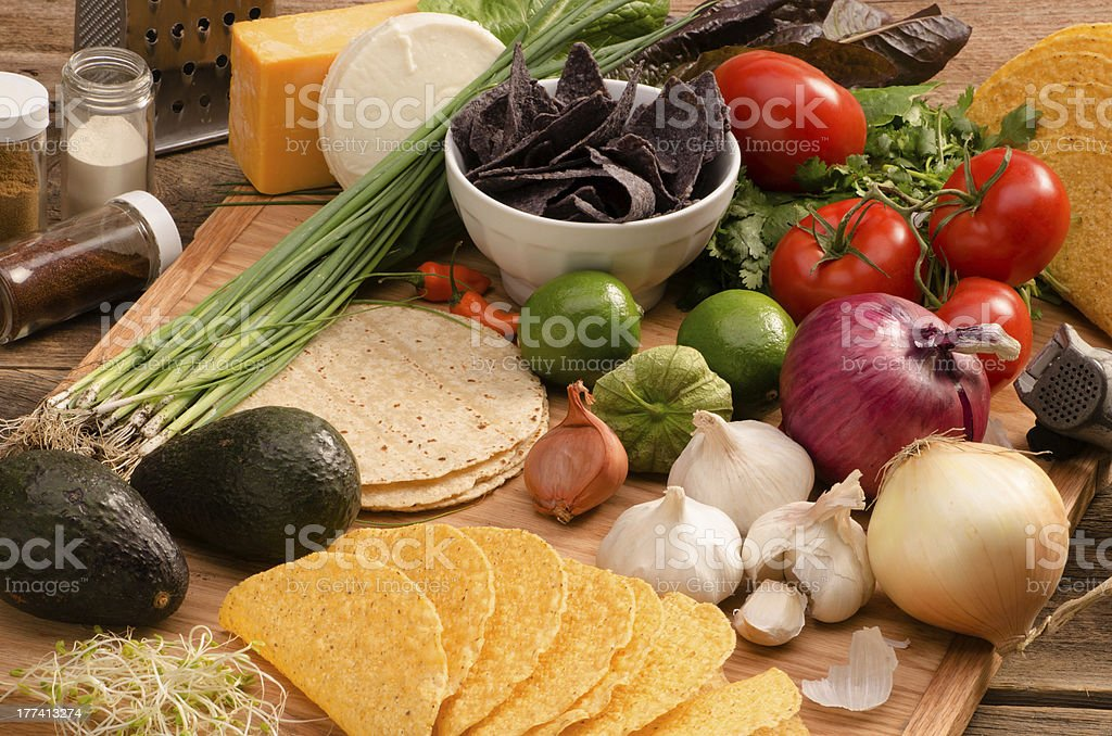 Colorful close-up fresh organic vegetables and Taco Ingredients stock photo