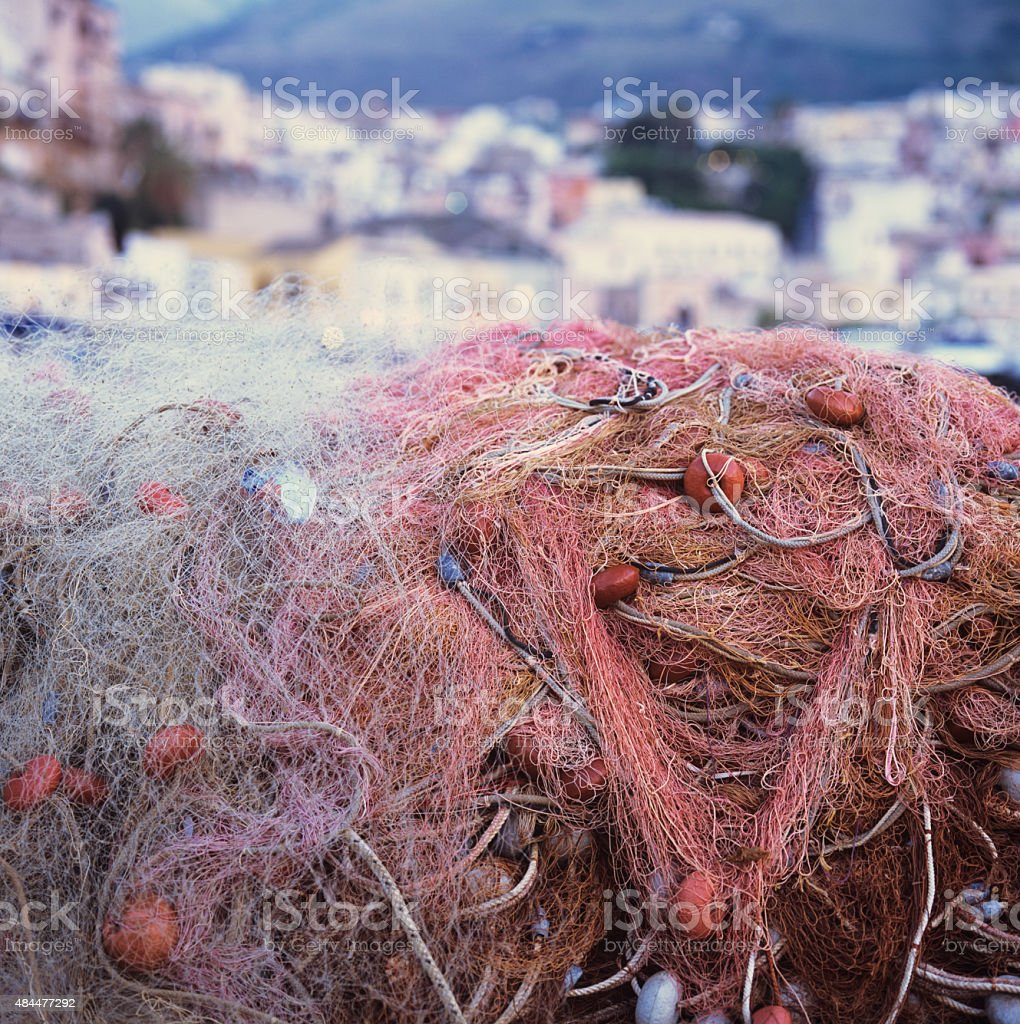 Colorful close-up of fishing nets at the harbour stock photo