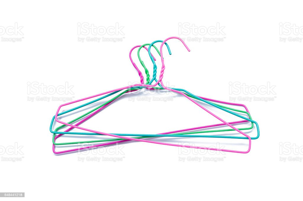colorful clothes hanger isolated on white stock photo