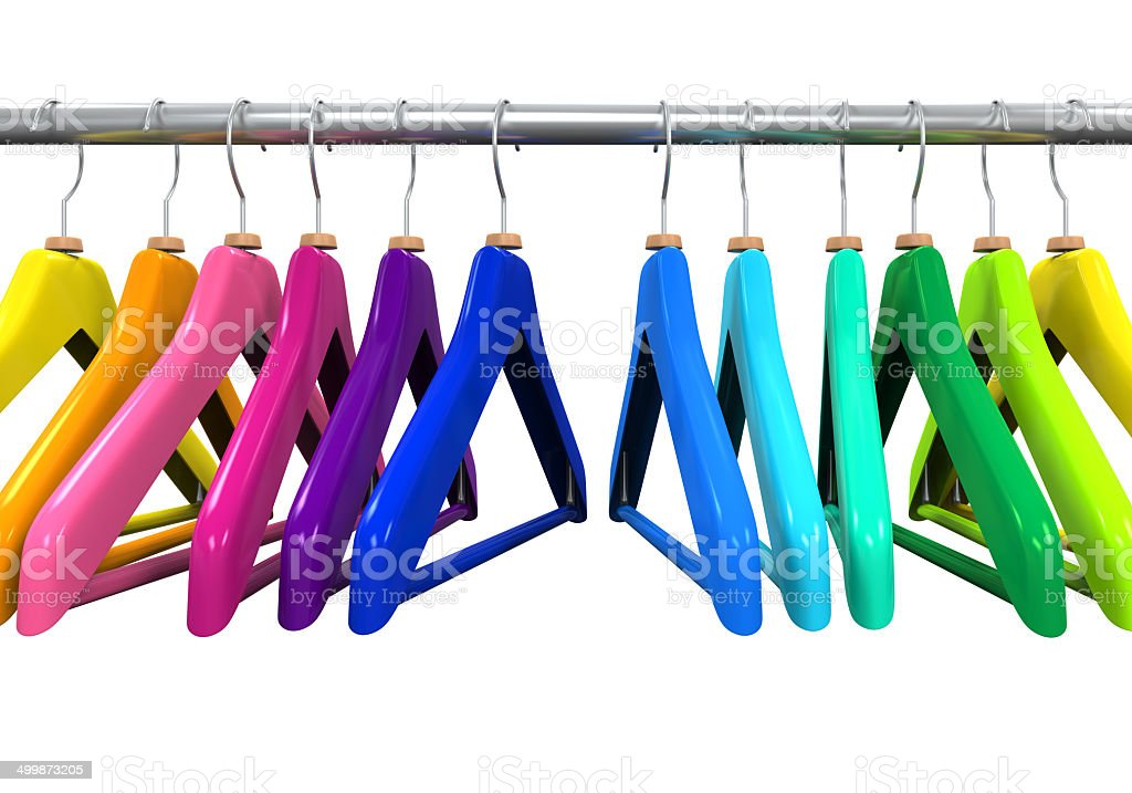 Colorful Clothes Hangers vector art illustration