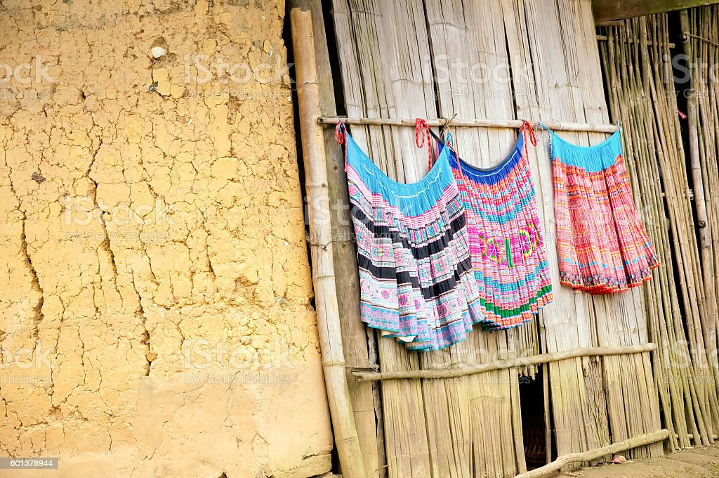 Colorful clothes of ethnic minority people in Sapa, Vietnam stock photo
