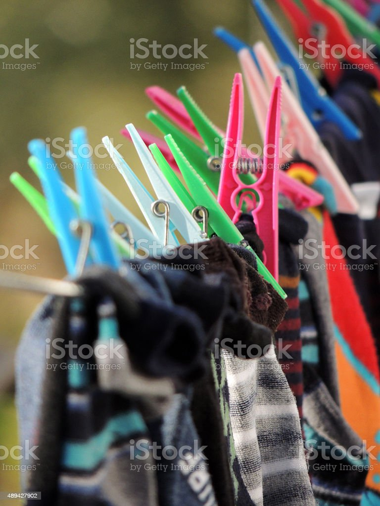 Colorful Clothespin stock photo