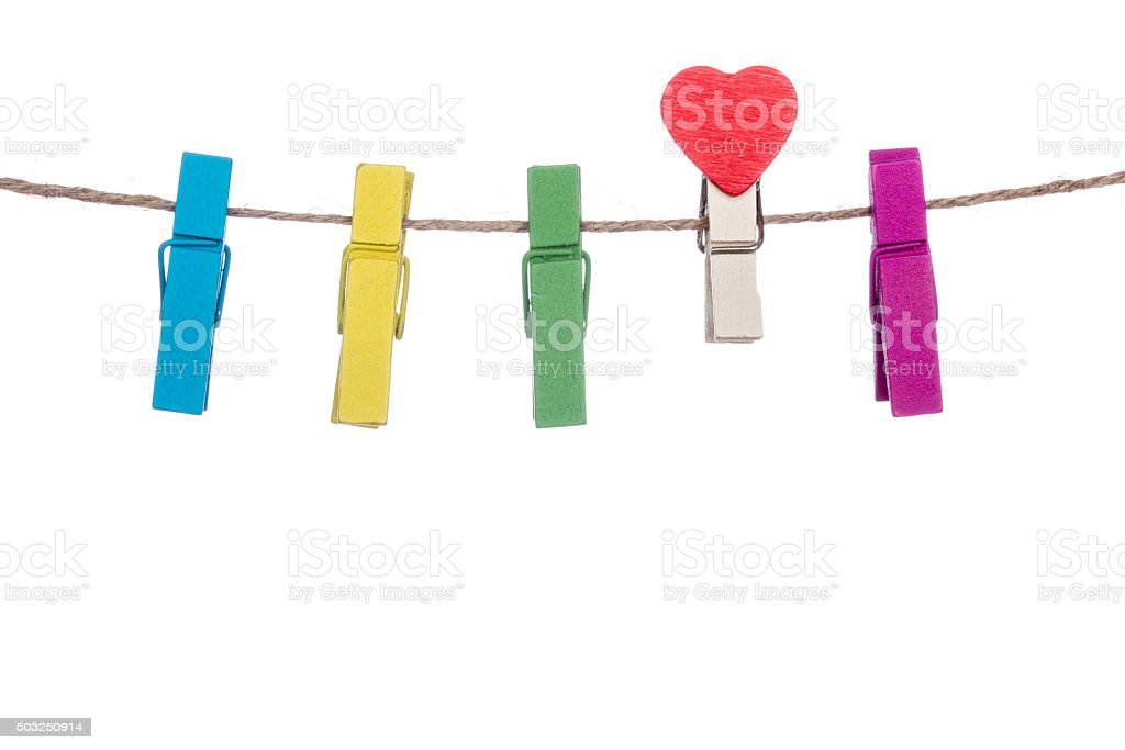 colorful clothespins with heart  shape  clip on a clothesline stock photo
