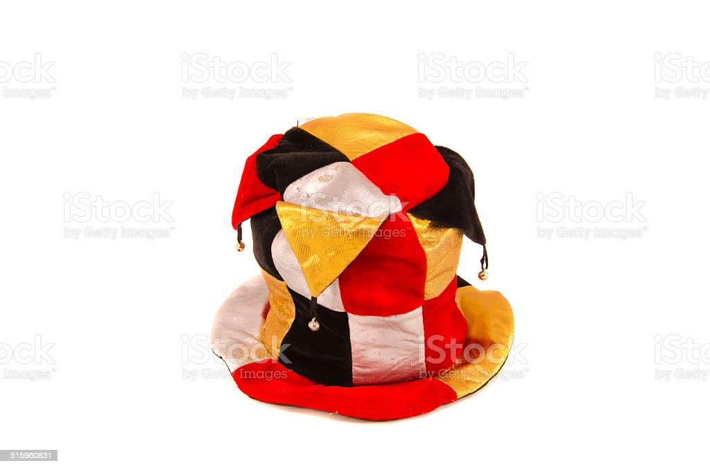 colorful clown harlequin cap isolated on white stock photo