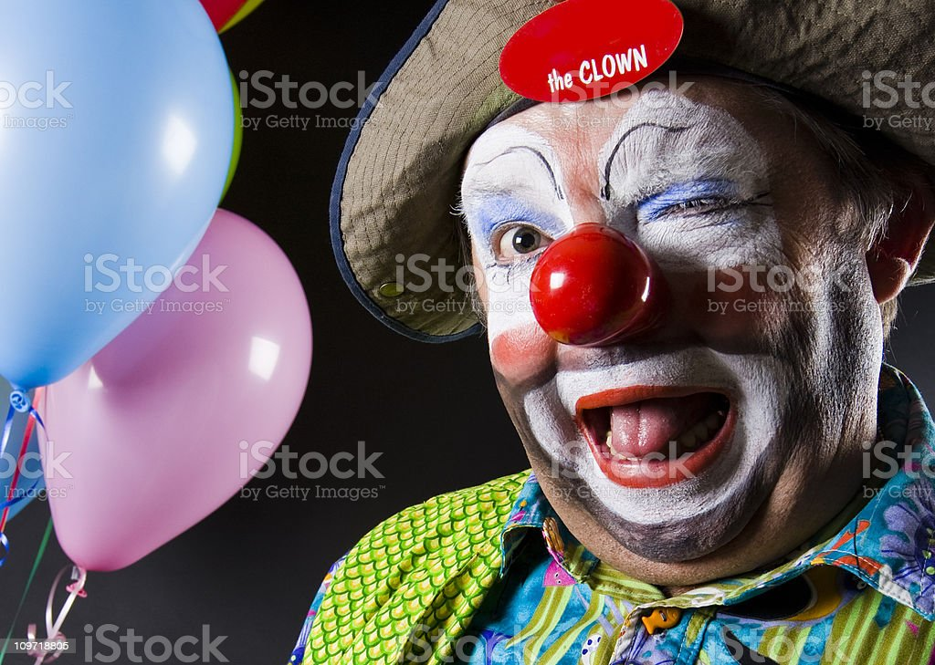 Colorful Clown Winking at the Camera royalty-free stock photo