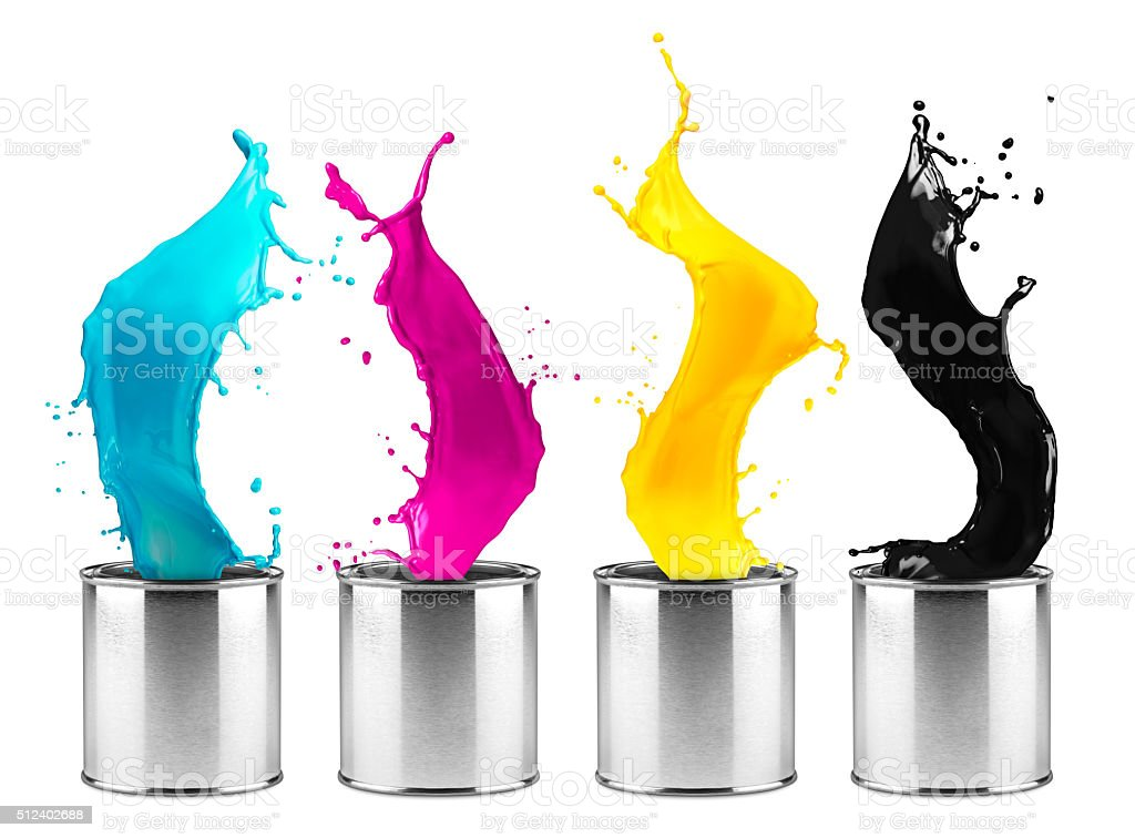 colorful CMYK color dose splash  row stock photo