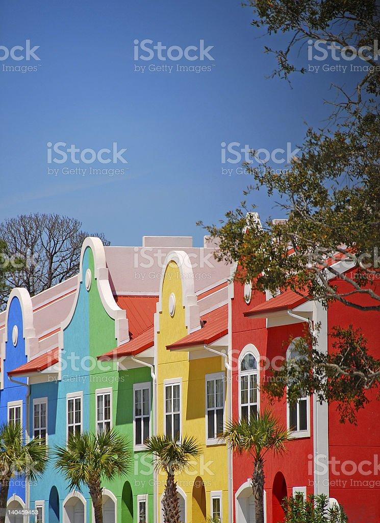Colorful Coastal Townhomes stock photo