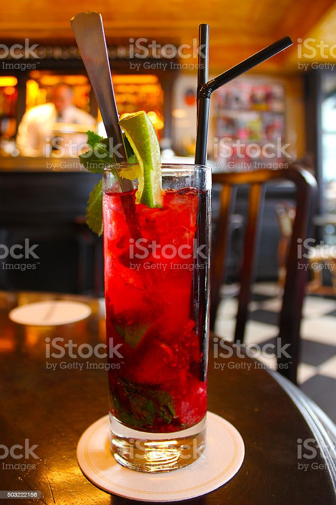 Colorful cocktail close up stock photo
