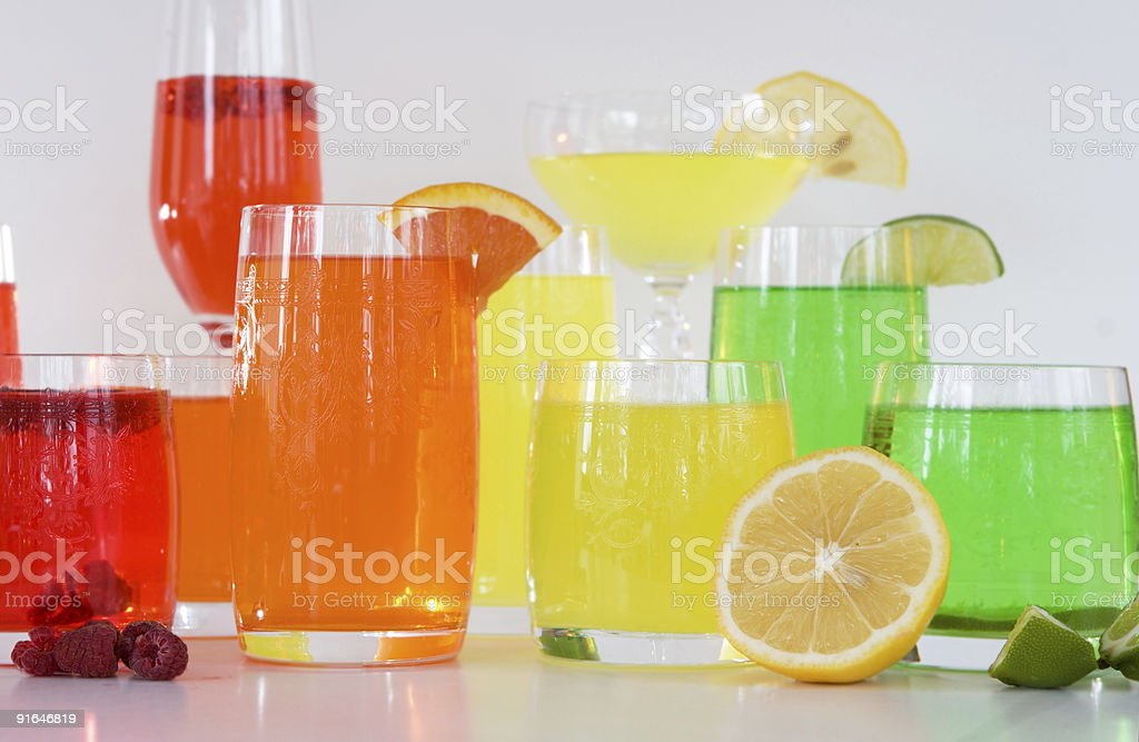 colorful cocktail drinks with fruit royalty-free stock photo