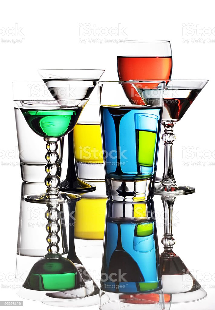 Colorful cocktails and wine royalty-free stock photo