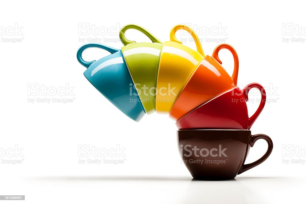 Colorful coffee cup stack - White Rainbow Multi Colored royalty-free stock photo