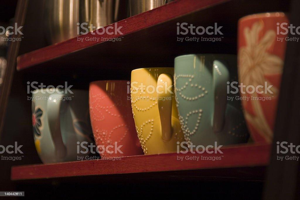 Colorful Coffee Mugs royalty-free stock photo