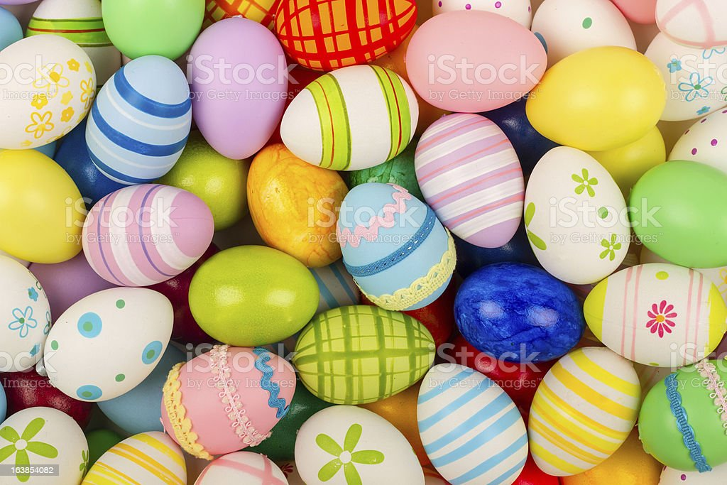 A colorful collection of patterned easter eggs stock photo