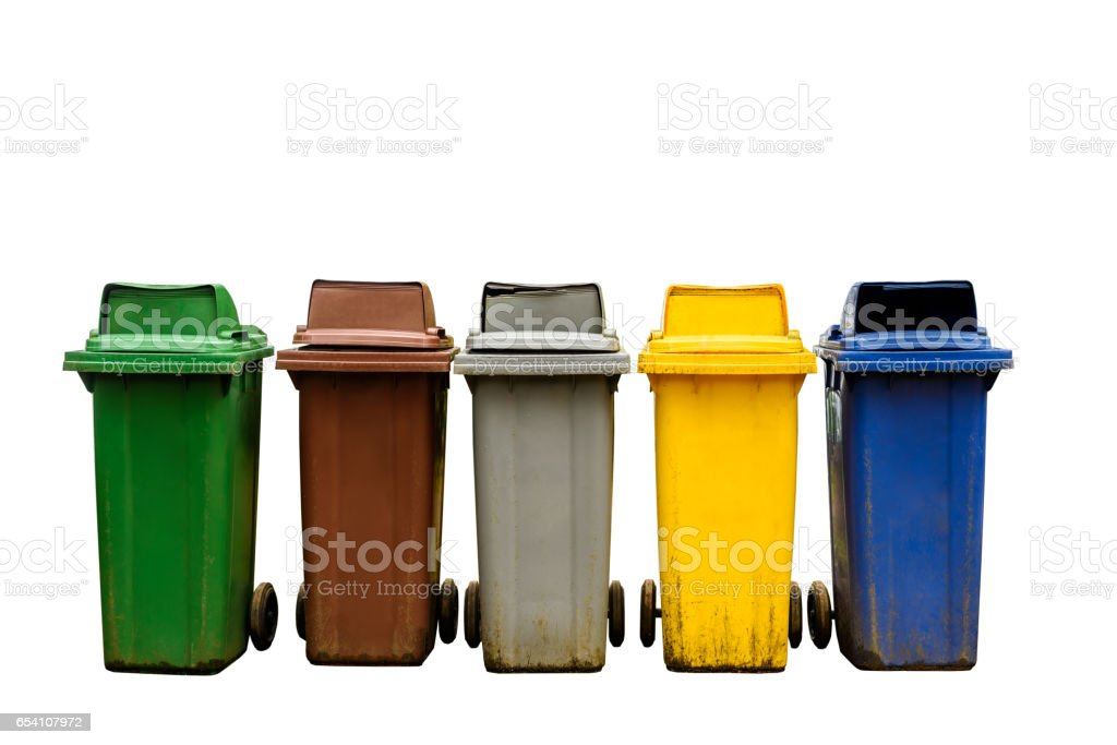 Colorful collection recycle bins isolated on white background stock photo