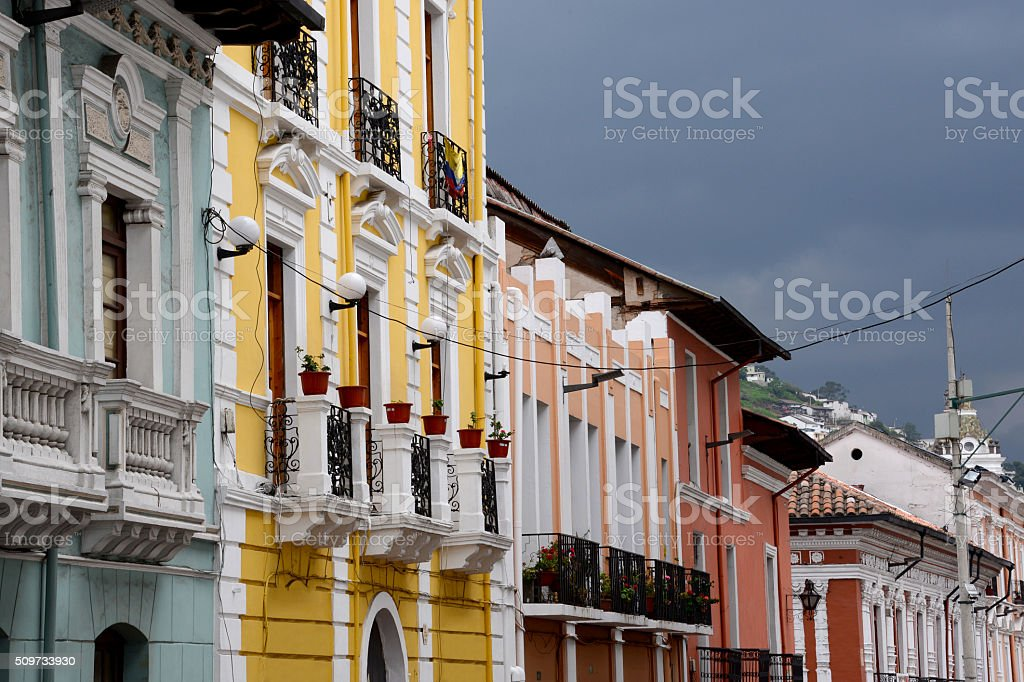 Colorful colonial buildings stock photo