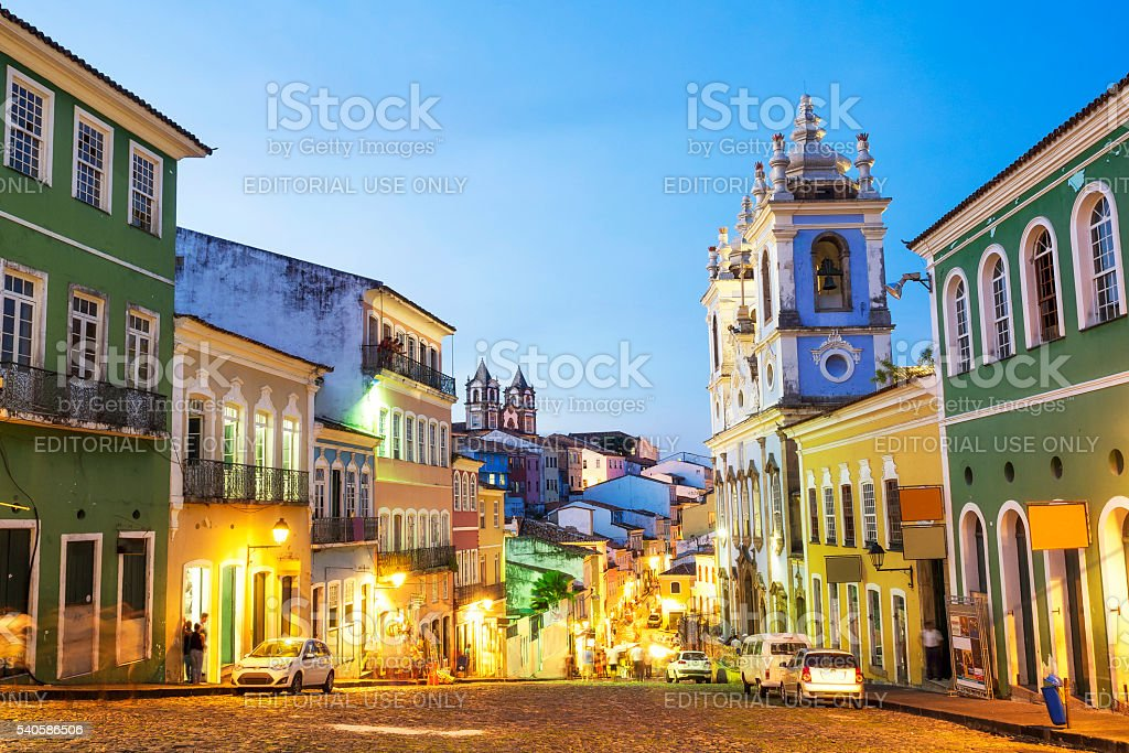 Colorful Colonial Houses at Pelourinho, Salvador, Bahia, Brazil stock photo