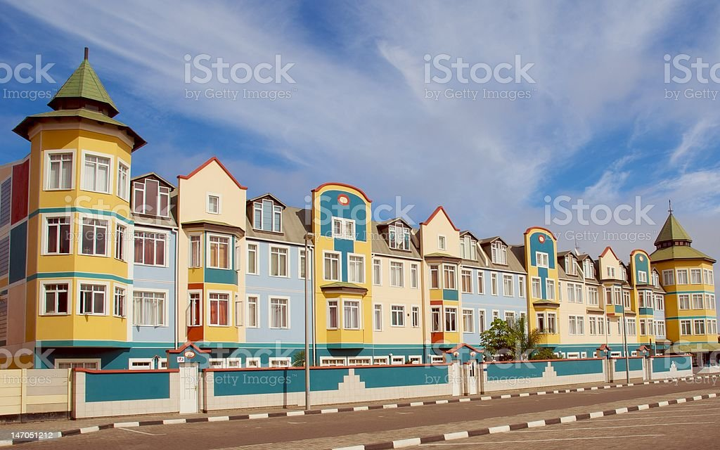 Colorful colonial houses in Swakopmund stock photo