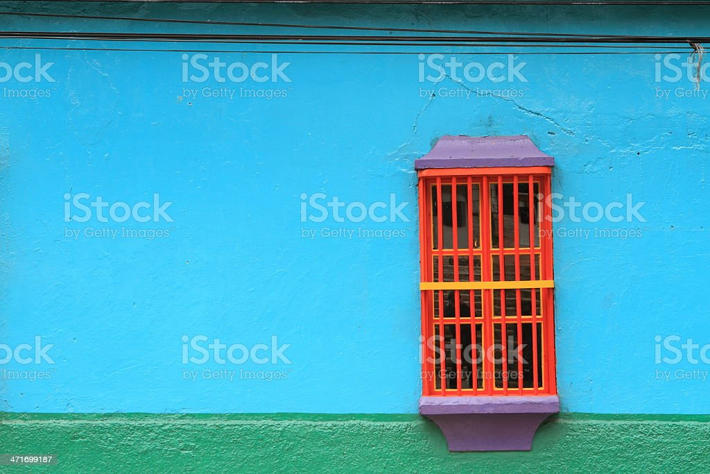 Colorful Colonial Window stock photo