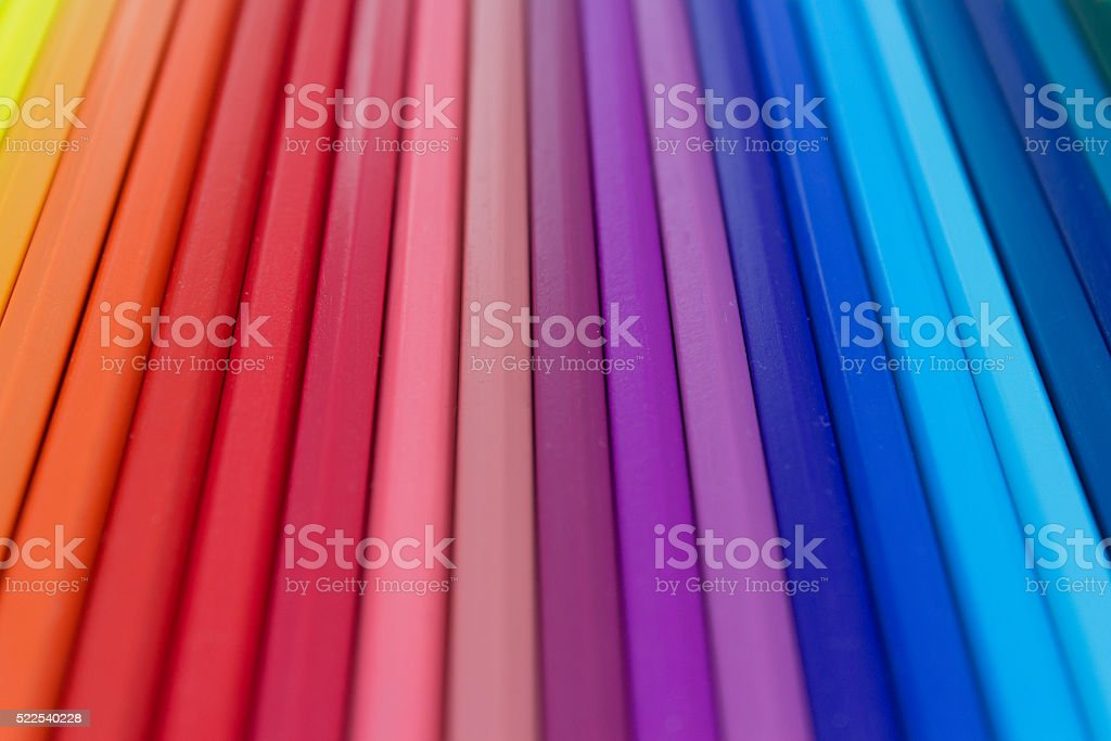 colorful color background, row of color pencils macro stock photo