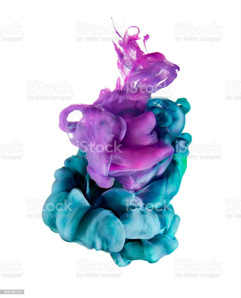 Colorful color sculpture dropped under water stock photo