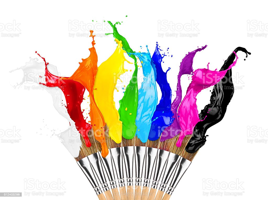 colorful color splash paintbrush row stock photo