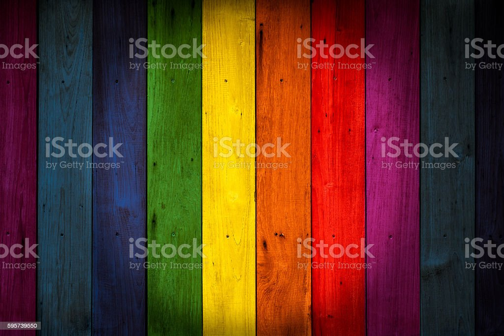 LGBT Colorful color wood background, rainbow colored wooden wall. stock photo
