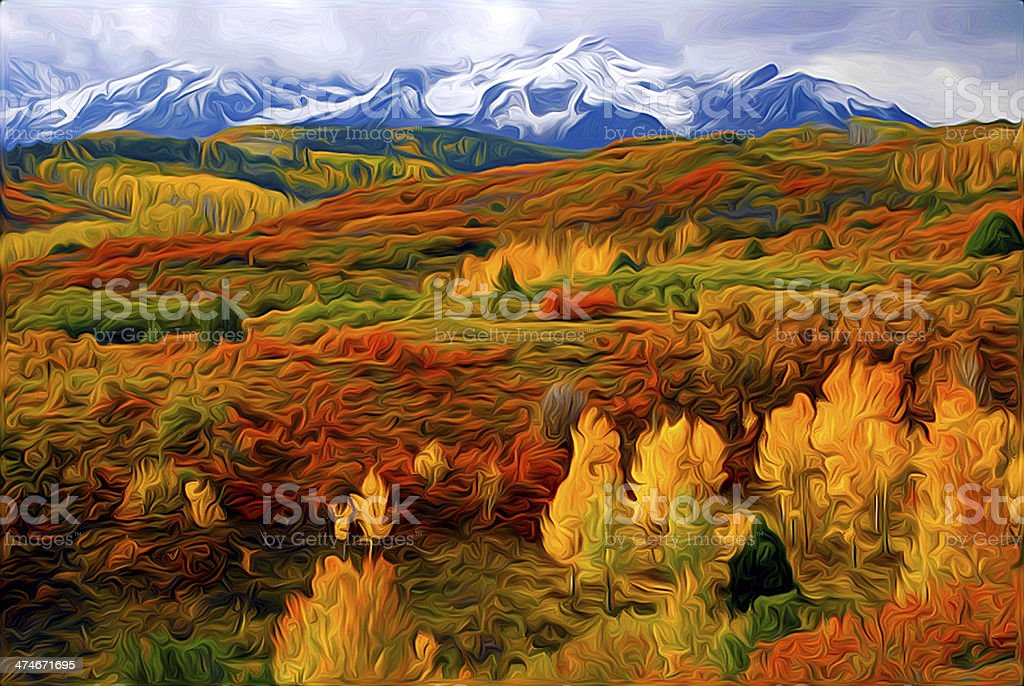 Colorful Colorado at it's Best in oils stock photo