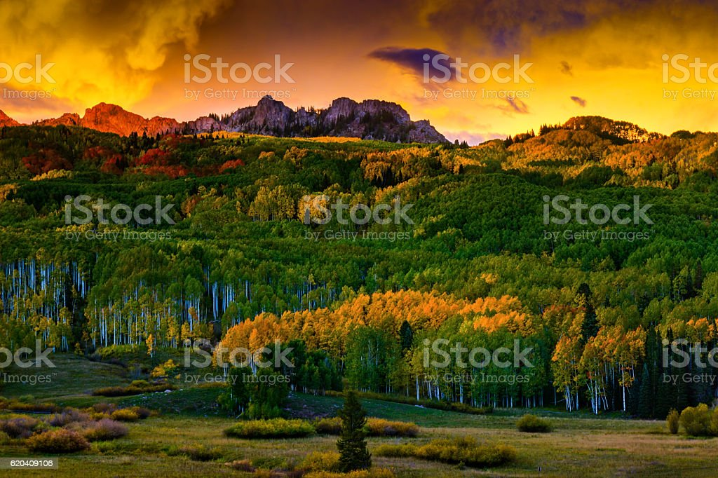 Colorful Colorado Fall Sunset With Mountains stock photo