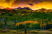 Colorful Colorado Fall Sunset With Mountains