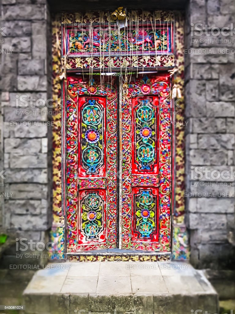 Colorful Colourful Decorated Door Entrance stock photo