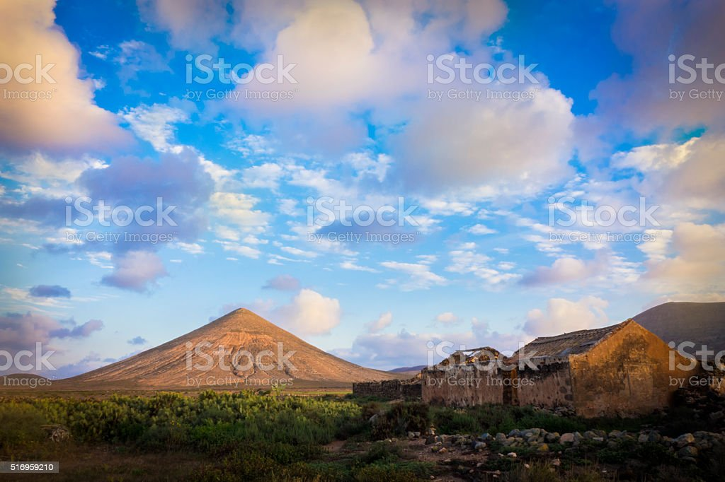 colorful colourful sky over mountainns in La Oliva Fuerteventura stock photo