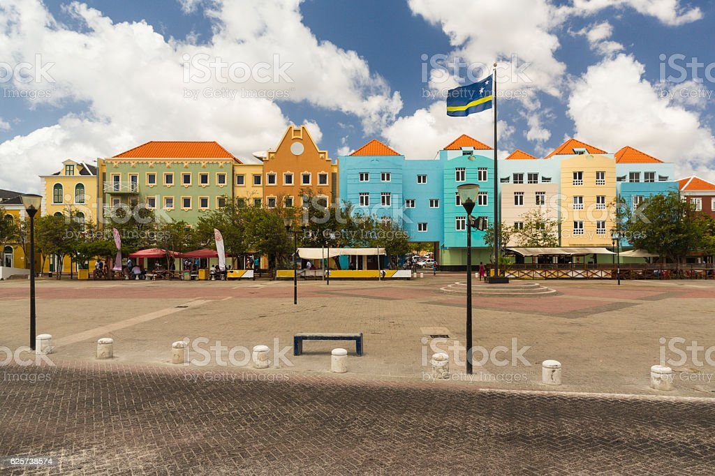 Colorful Colourful Square in Willemstad in Curaco stock photo