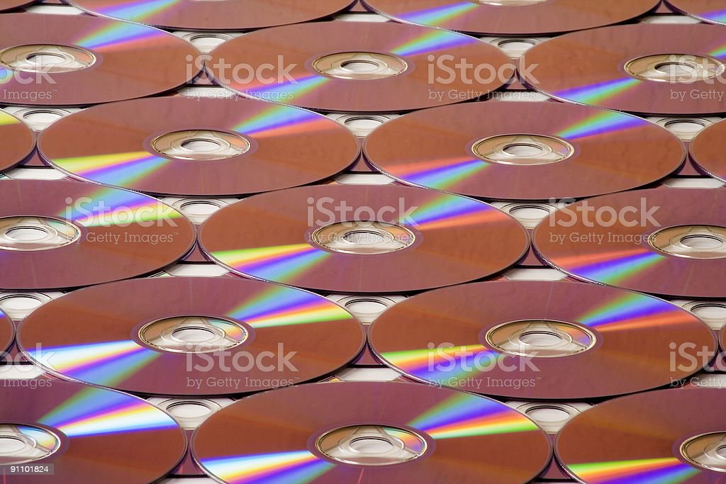 Colorful compact disks stock photo