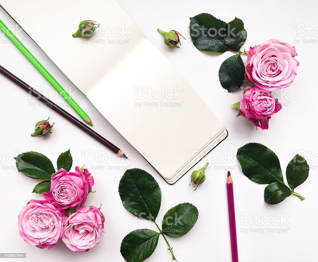 Colorful composition with sketchbook, roses and pencils. Flat lay stock photo