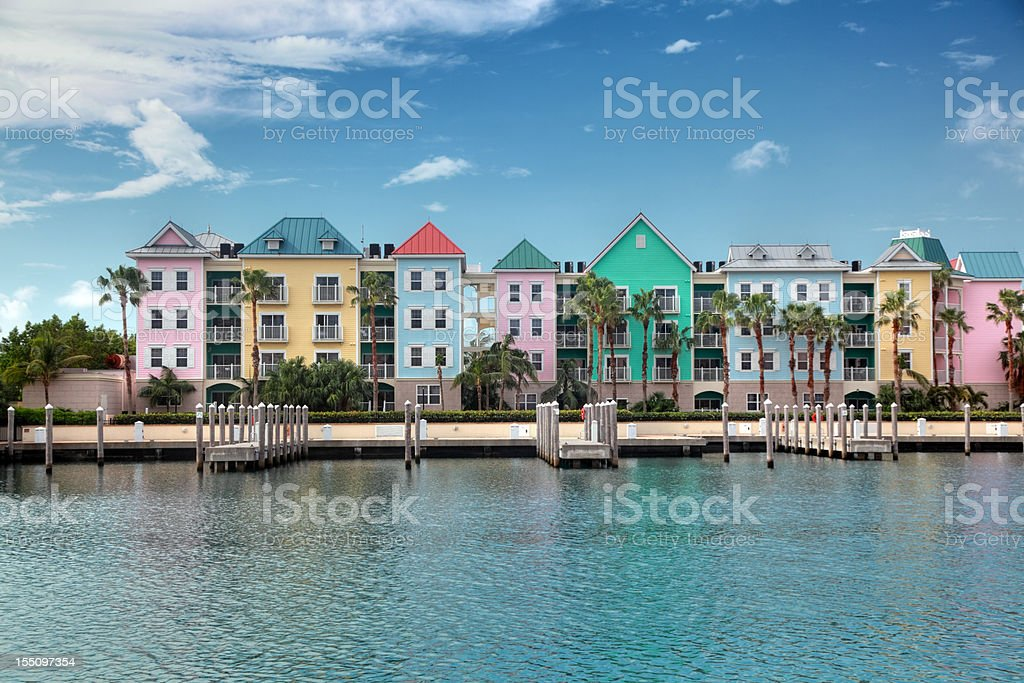 Colorful condominiums on the water stock photo