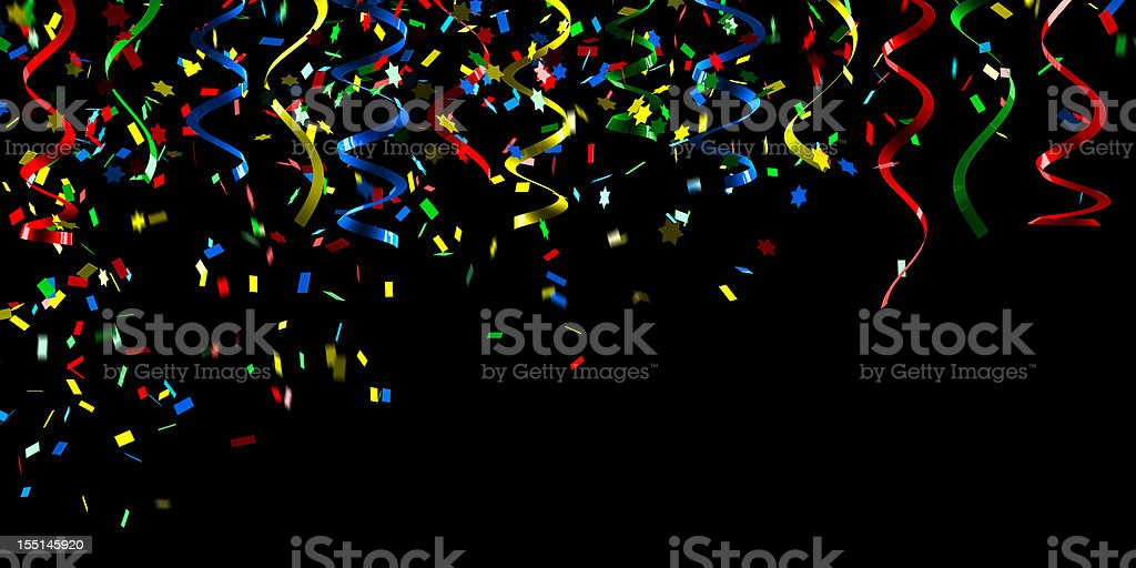 Colorful confetti falling down on a black background royalty-free stock photo