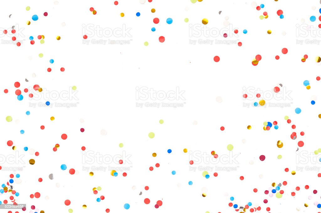 Colorful Confetti in front of White Background stock photo