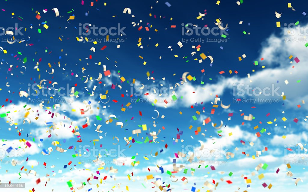 Colorful Confetti in Sky stock photo