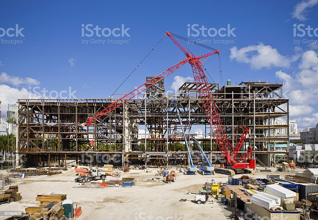 Colorful construction site on a sunny day stock photo