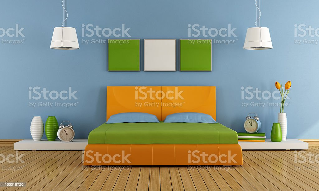 Colorful contemporary bedroom royalty-free stock photo
