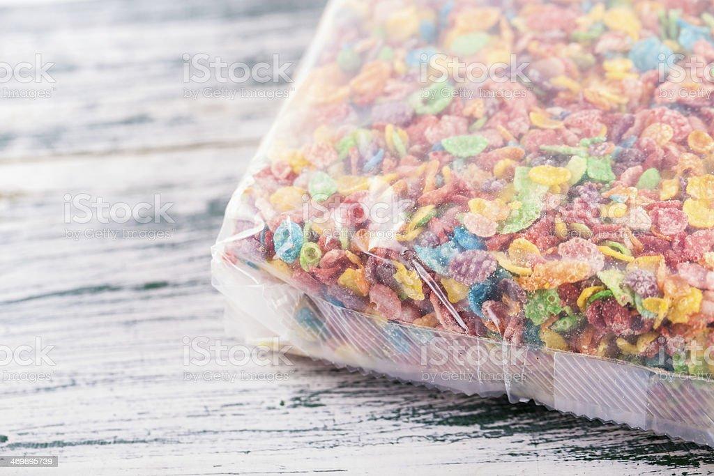 Colorful corn flakes stock photo