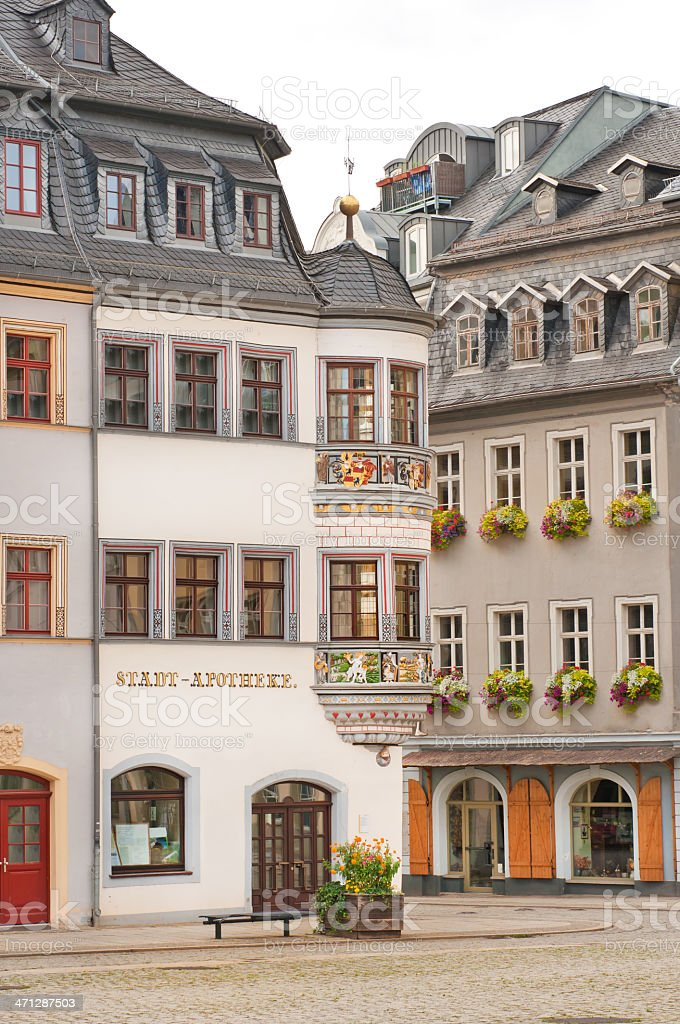 Colorful corner at the old town pharmacy Gera, Thuringia Germany royalty-free stock photo