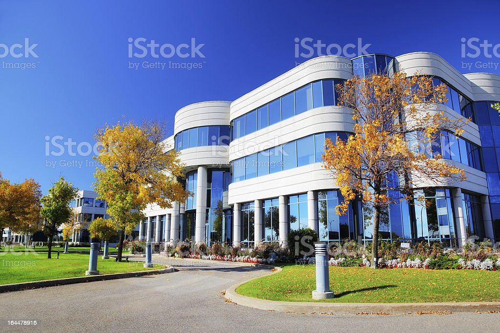 Colorful Corporate Building at Fall stock photo