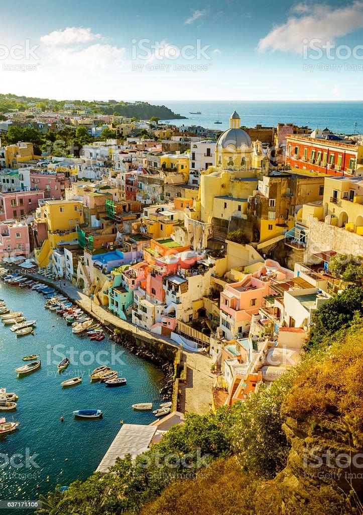 Colorful Corricella village on Procida Island in Italy stock photo