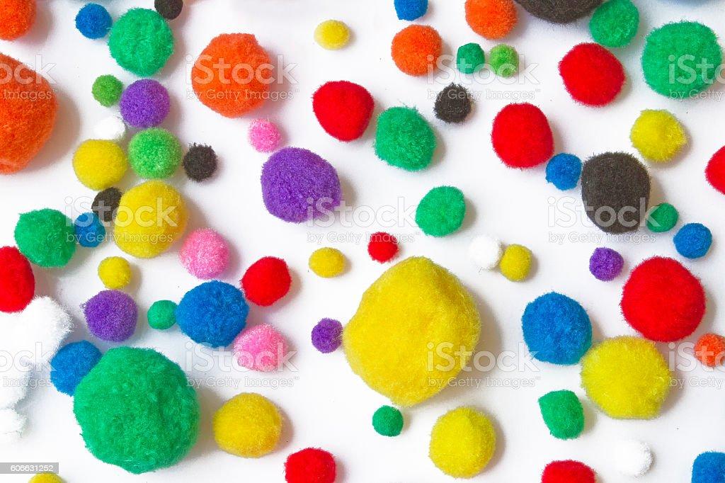 Colorful cotton balls stock photo