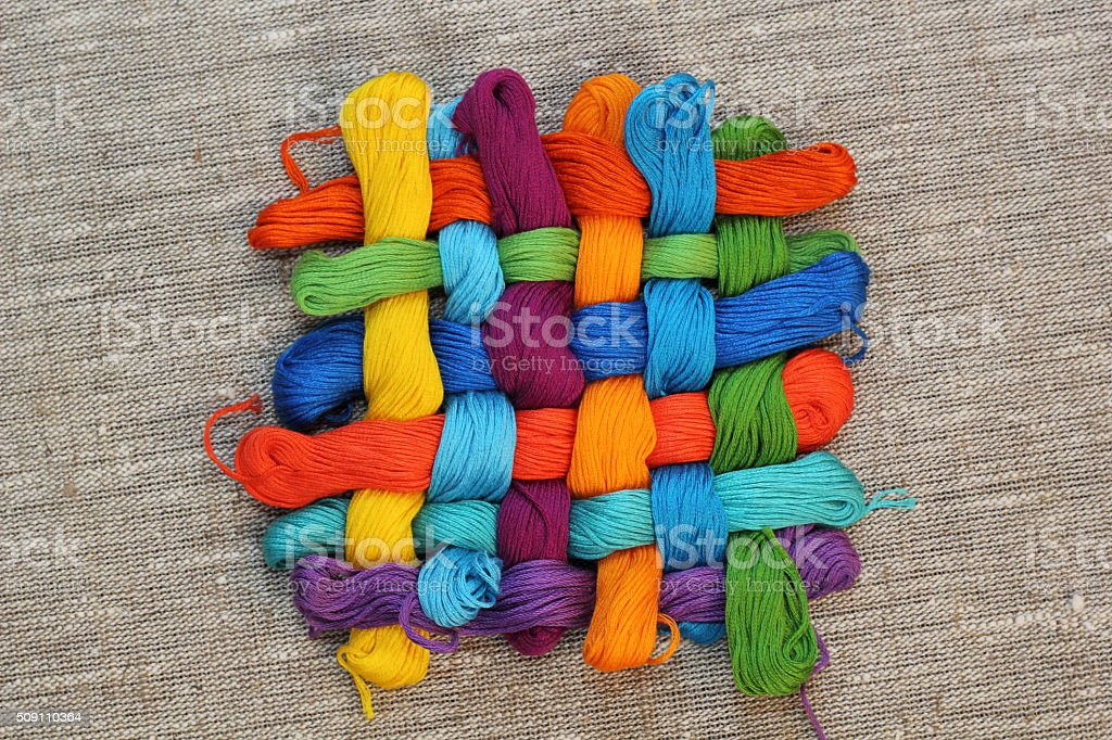 Colorful cotton craft threads stock photo