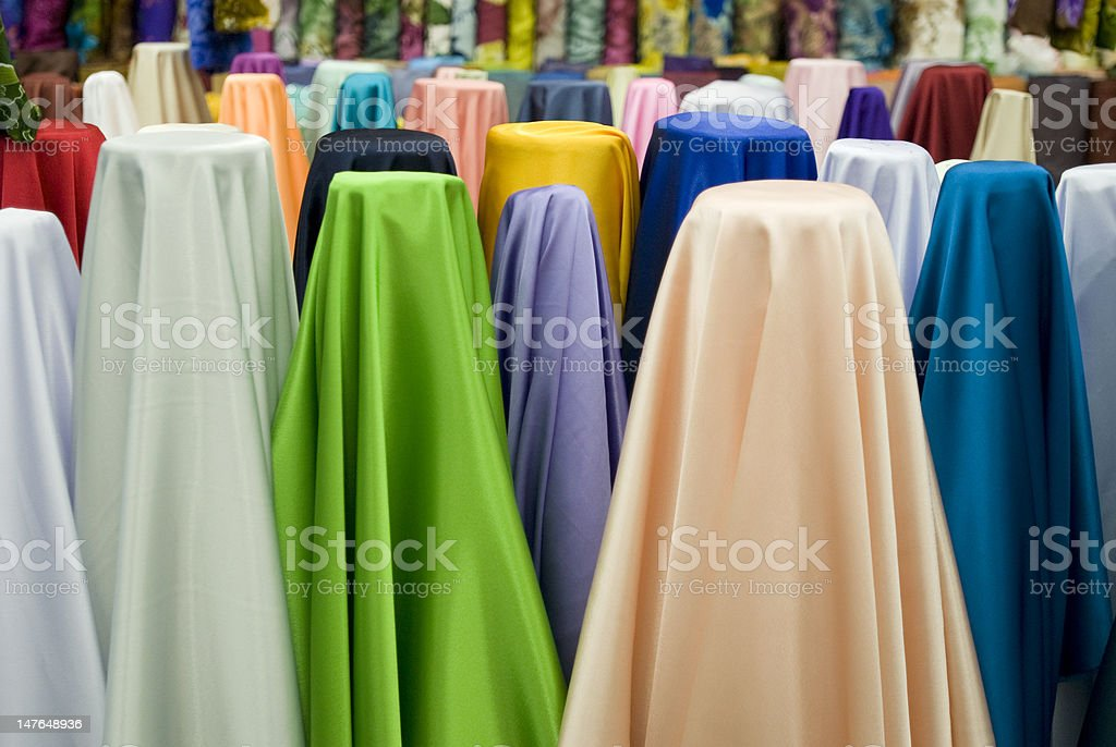 Colorful cotton fabrics on sale royalty-free stock photo