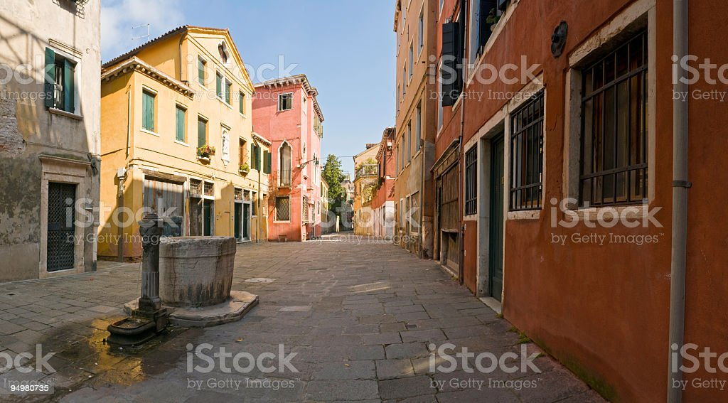 Colorful courtyard Venice stock photo